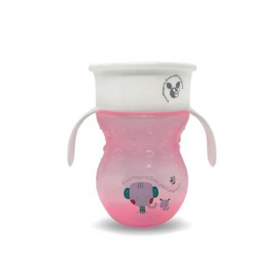 Εκπαιδευτικό Κύπελλο 360° Με Λαβές 270 ML Magic Cup Pink  από την Cangaroo