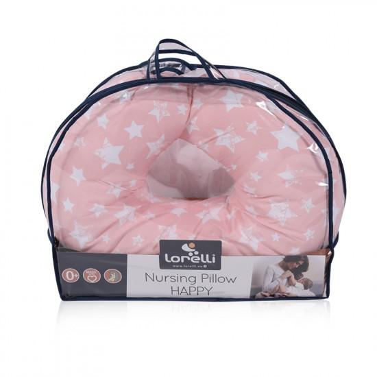 Breastfeeding pillow happy little stars pink