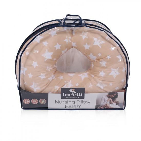 Breastfeeding pillow happy little stars beige