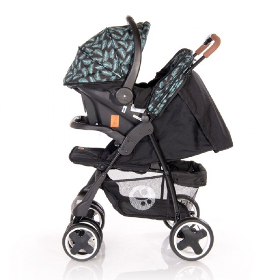 Ines Set Stroller Black Leaves